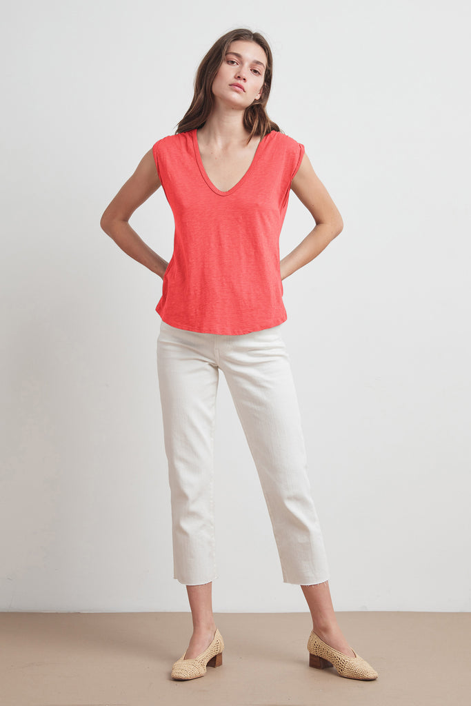 JAYDEN COTTON SLUB SCOOP NECK TEE IN BLOSSOM