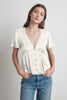 MAISIE SATIN VISCOSE BUTTON-UP BLOUSE IN CREMA
