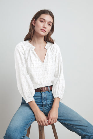 MATILDA POSITANO EYELET PEASANT BLOUSE IN CREAM