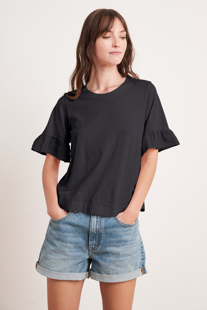 TRUDY COTTON SLUB TOP IN BLACK