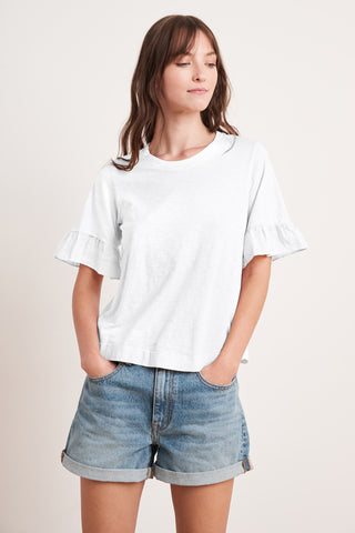 TRUDY COTTON SLUB TOP IN WHITE