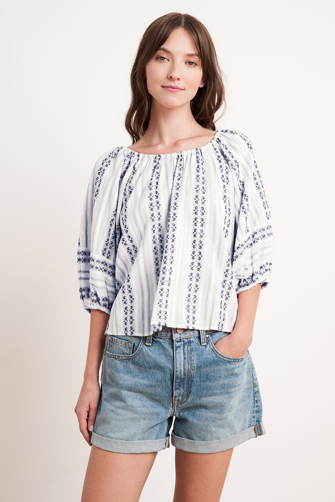 VIVIETTE STRIPE JACQUARD TOP IN OCEAN