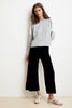 ADALIA WIDE LEG LUXE FLEECE PANT IN BLACK