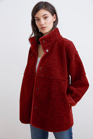 ALBANY REVERSIBLE LUX SHERPA MOCK NECK COAT IN RED