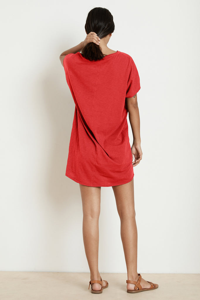 ANNIE COTTON SLUB T-SHIRT DRESS IN JESTER