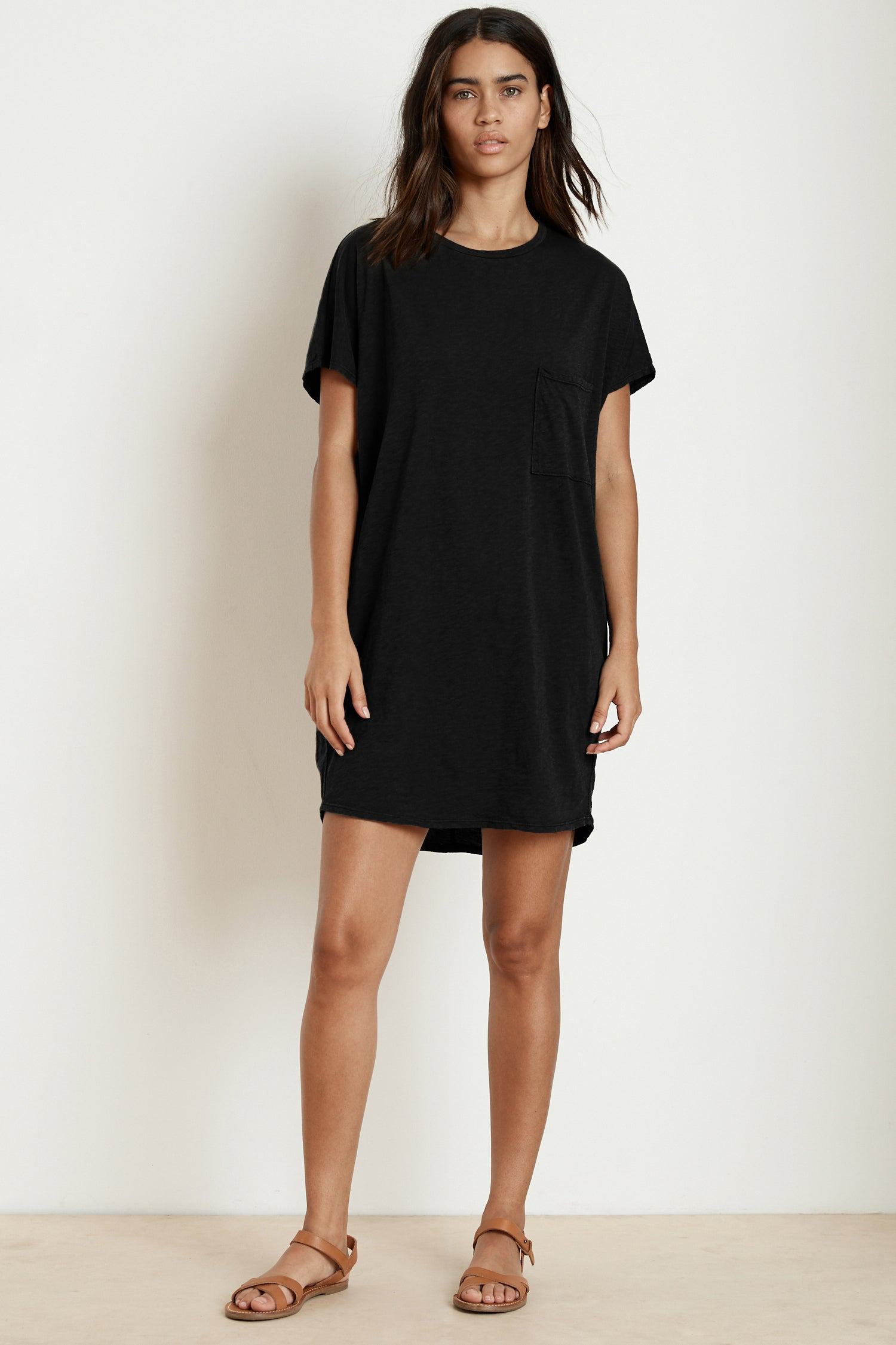 ANNIE COTTON SLUB T-SHIRT DRESS IN BLACK