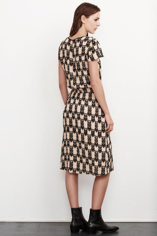 ABBY ART DECO PRINTED DRESS IN MULTI