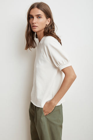 STACIA SHORT SLEEVE RAGLAN TERRY TOP IN COCONUT