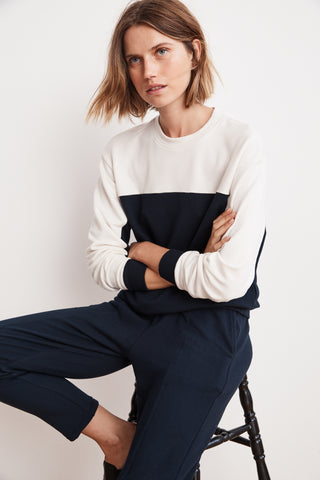 STELLA COLOR BLOCK LUXE FLEECE PULLOVER IN NIGHT