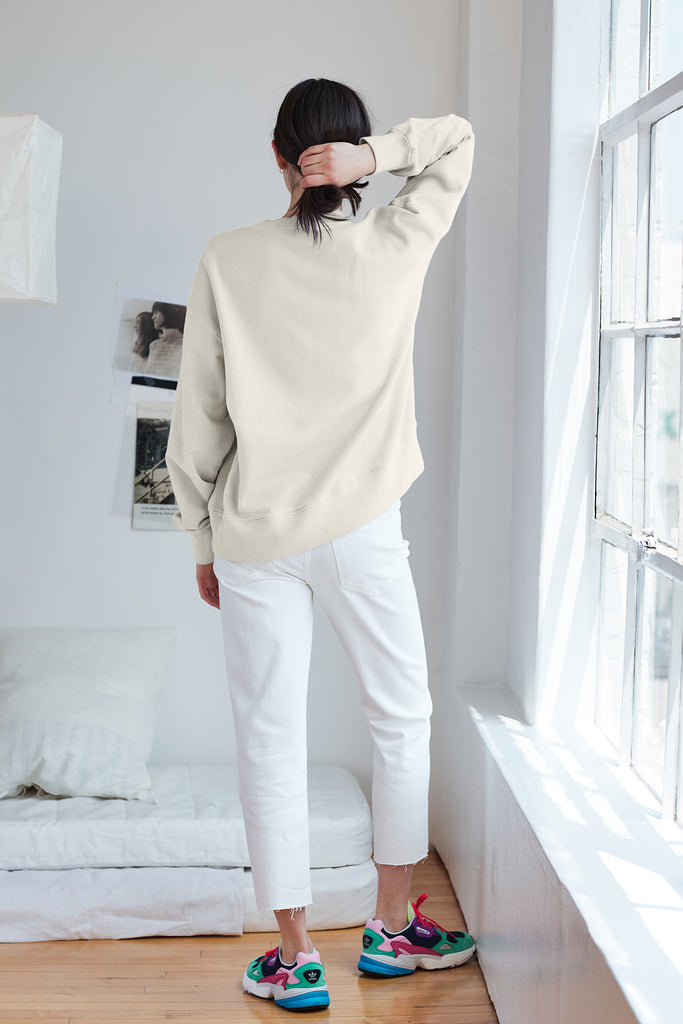 GWYNETH VINTAGE FLEECE SWEATSHIRT IN COCONUT