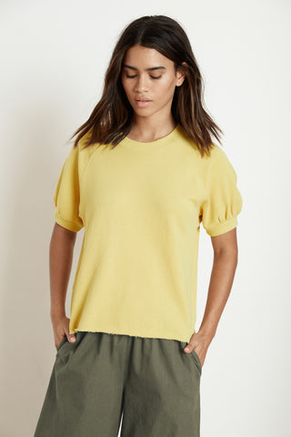 STACIA SHORT SLEEVE RAGLAN TERRY TOP IN PINEAPPLE
