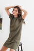 LUCY VINTAGE FLEECE RAGLAN DRESS IN OLIVE