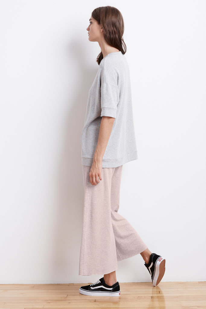 AVALYN FLEECE WIDE LEG PANT IN BOUQUET
