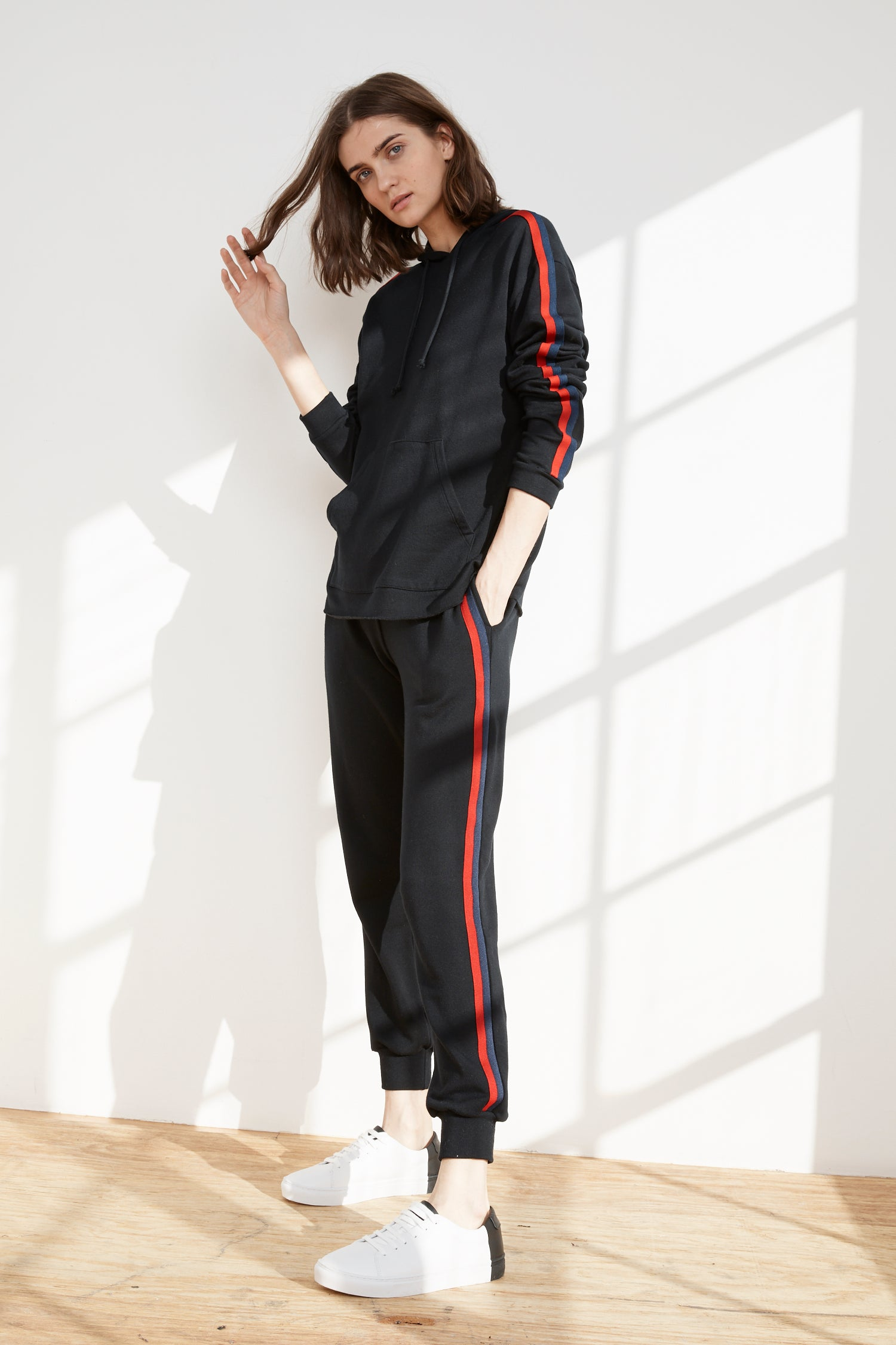 DIOR LUXE FLEECE STRIPE JOGGER IN BLACK