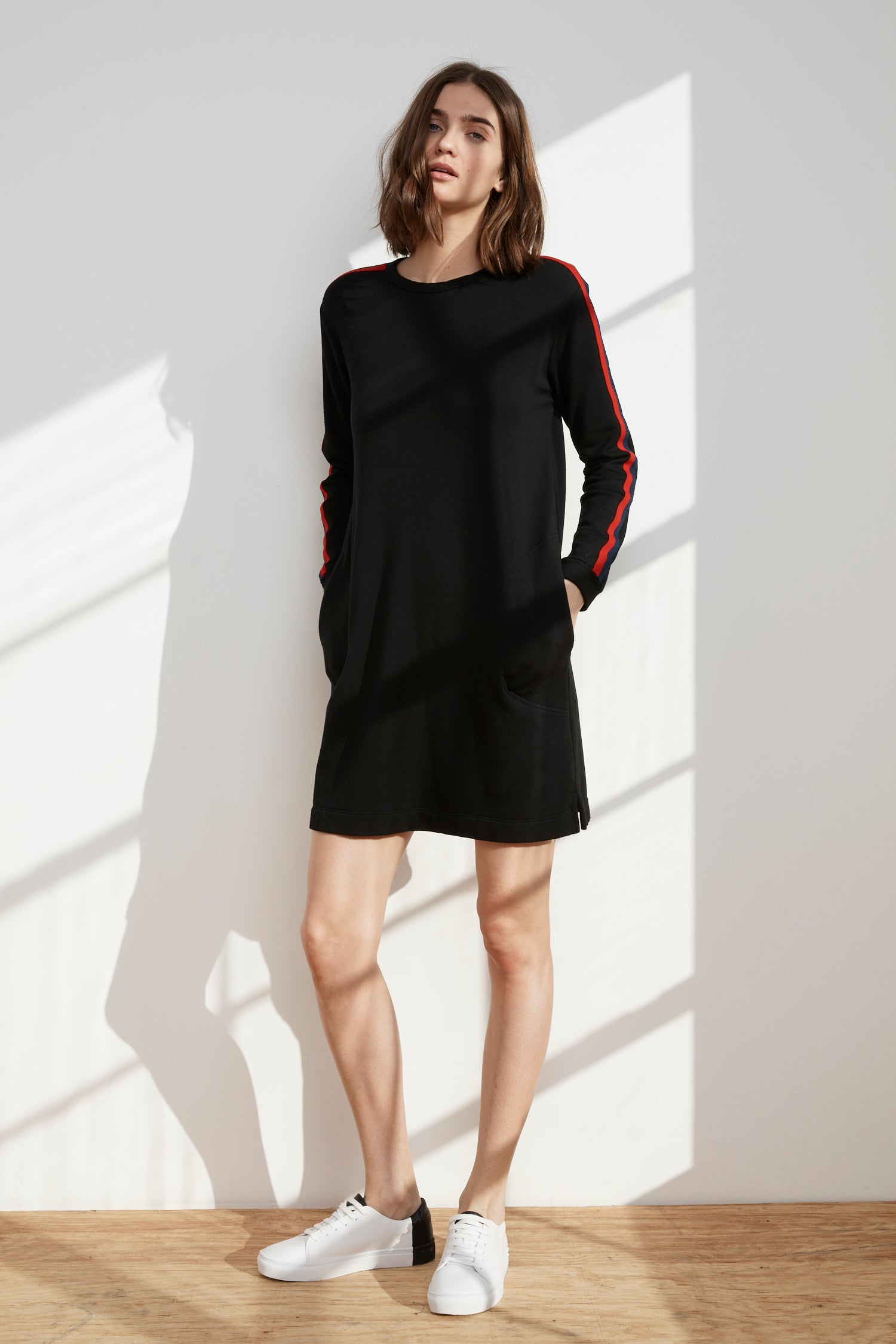 BRECK LUXE FLEECE STRIPE SWEATER DRESS IN BLACK