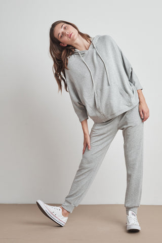 AUDRINA VISCOSE FLEECE JOGGER IN HEATHER GREY