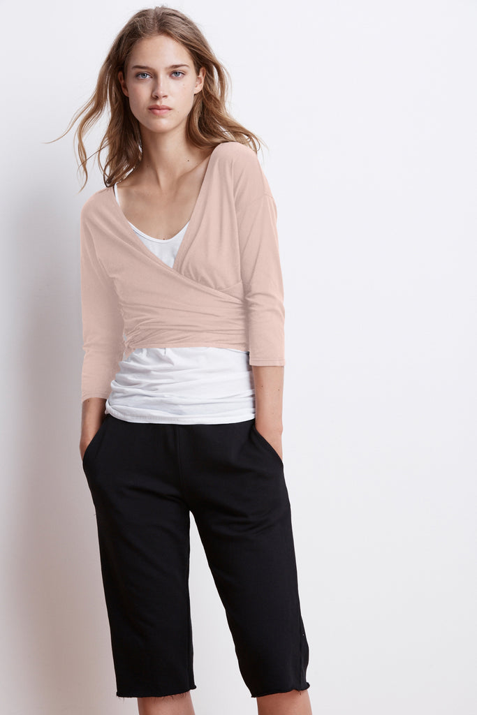 DOLLIE CROPPED WRAP CARDIGAN IN CUPID