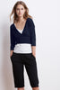 DOLLIE CROPPED WRAP CARDIGAN IN NIGHT