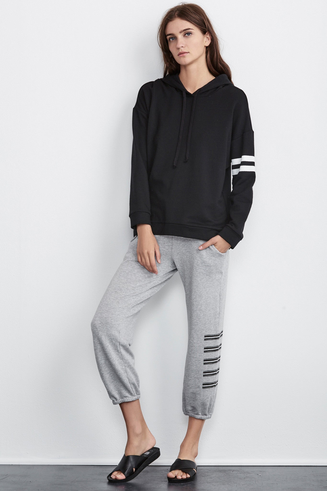STACEY STRIPE COTTON SWEATPANT IN GREY