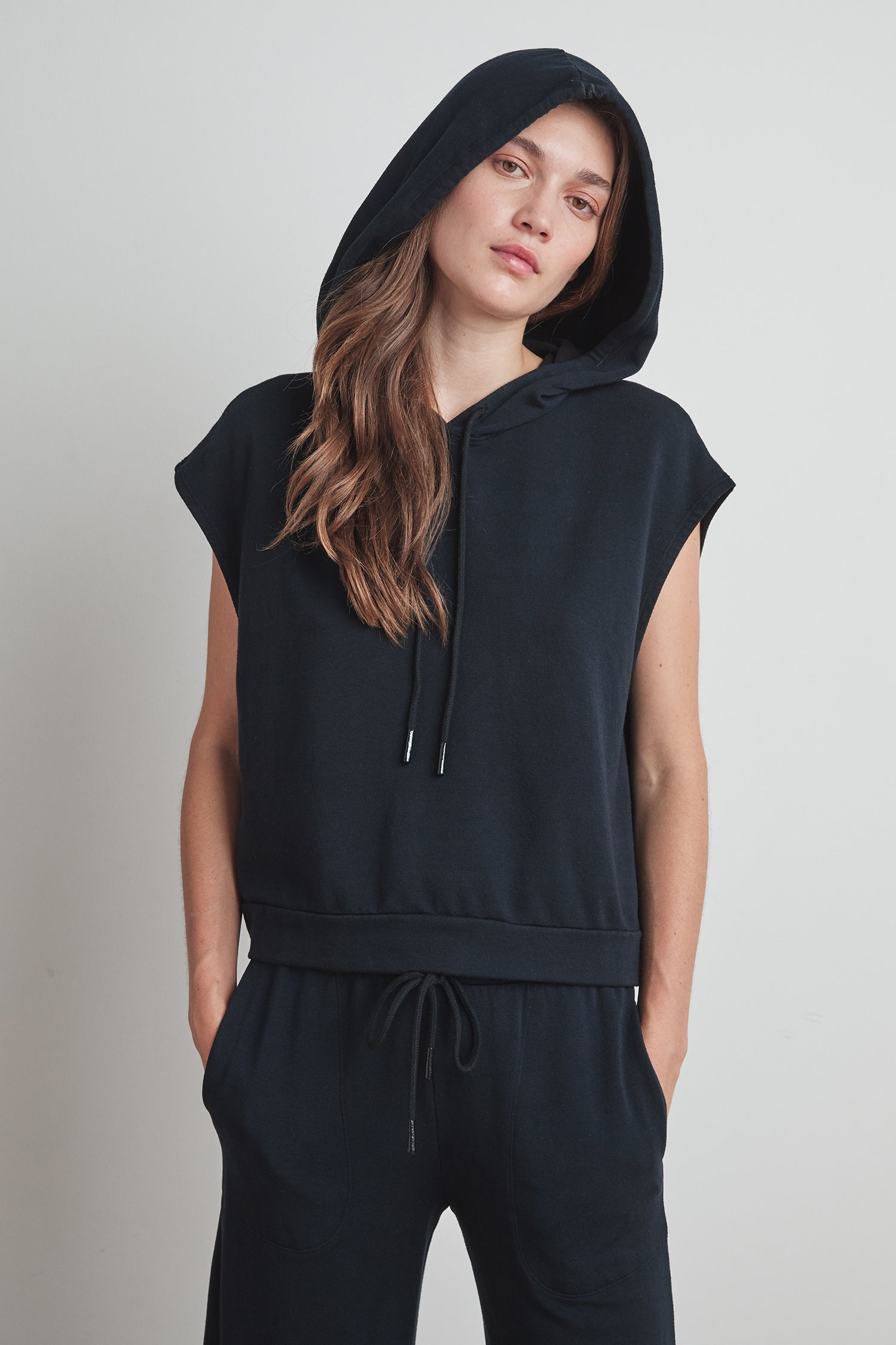 MARISA VISCOSE FLEECE HOODIE IN BLACK