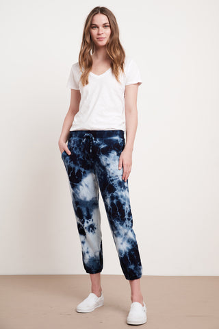 MAYLA ATHLEISURE TIE DYE PANT IN BLUE