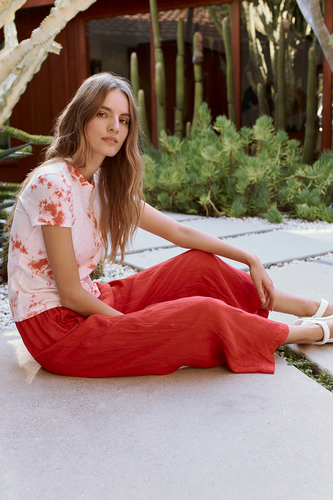 LOLA WOVEN LINEN PANT IN ROUGE