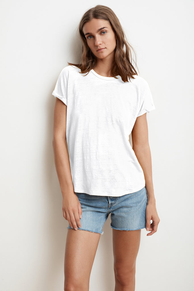 AUDREE LINEN KNIT TEE IN WHITE
