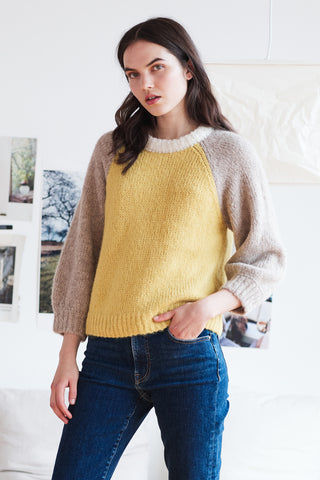 ANGIE BABY ALPACA COLORBLOCK SWEATER IN SUNSHINE