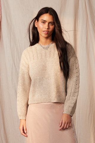 MAREE BABY ALPACA CREW NECK SWEATER IN OATMEAL