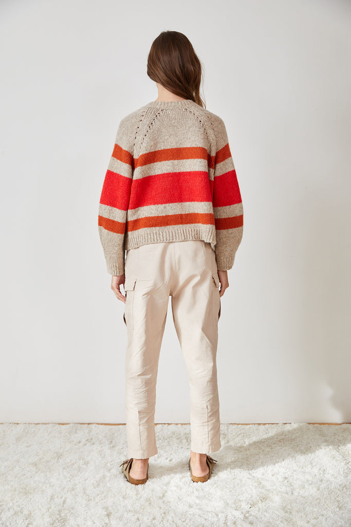 ZIGGY STRIPED OPEN CARDIGAN IN OATMEAL