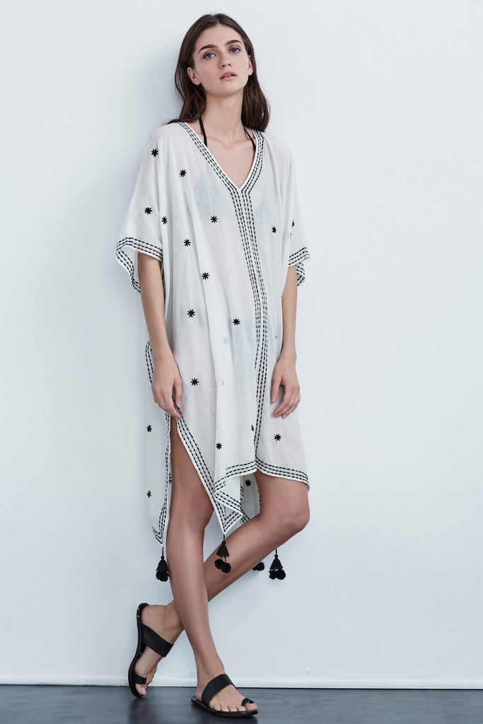 AUBREE EMBROIDERED COTTON COVER-UP DRESS IN CREAM