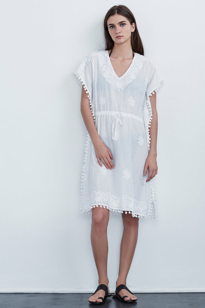 LUCEE EMBROIDERED COTTON COVER-UP DRESS IN WHITE