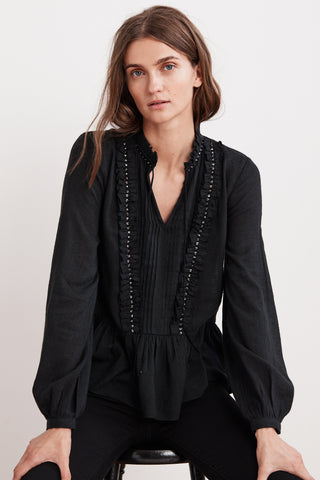 PEPPER BEADED RUFFLE BLOUSE IN BLACK