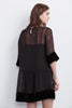 CASSIDY BEADED VELVET GEORGETTE DRESS IN BLACK