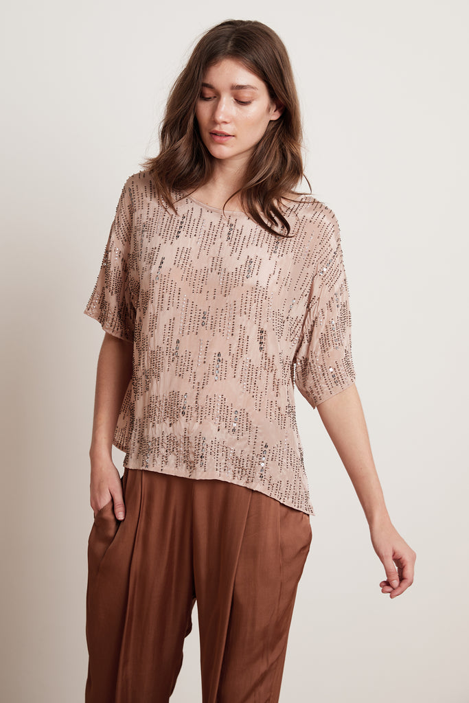 JONELLE BEADED VISCOSE TOP IN BLUSH