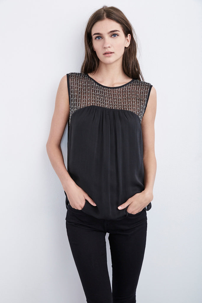 ELORA BEADED CHIFFON SLEEVLEES TOP IN BLACK