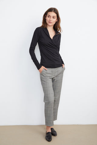 ABIGAIL BRENLEY PANTS IN BLACK PLAID