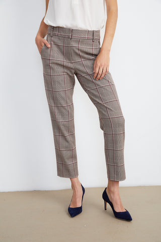 ABIGAIL BRENLEY PANTS IN RED PLAID