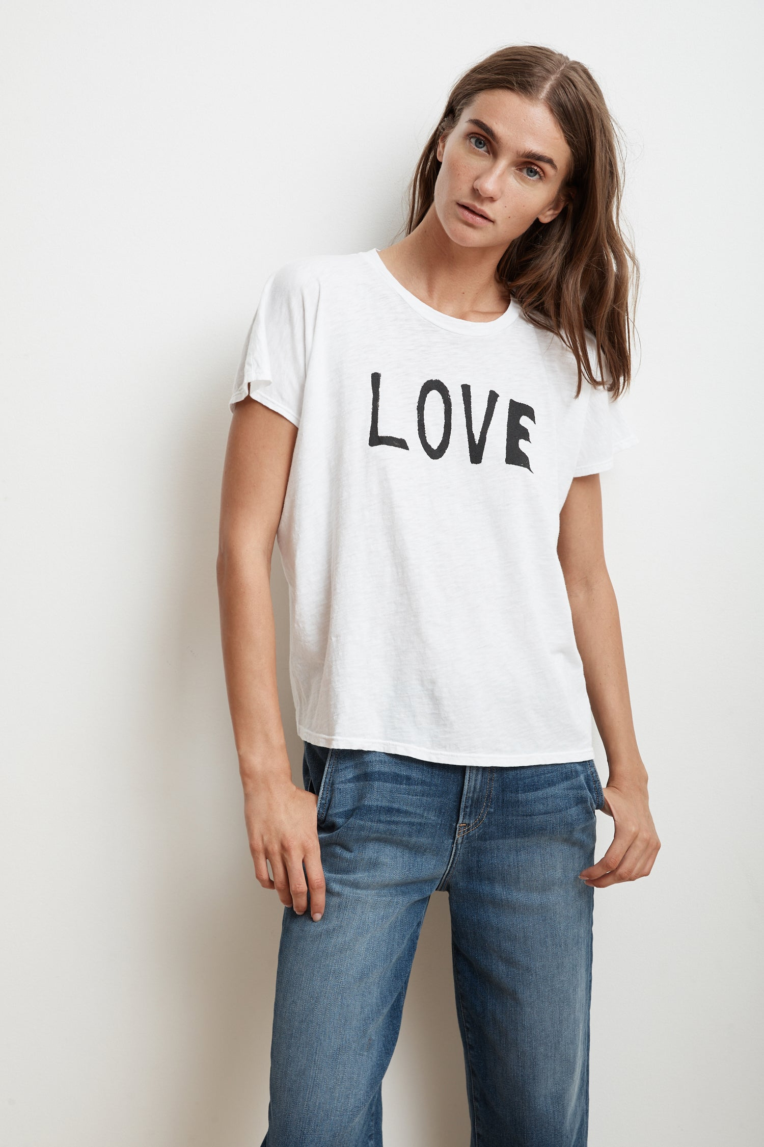 NOVALEE LOVE COTTON SLUB SHORT SLEEVE TEE IN WHITE