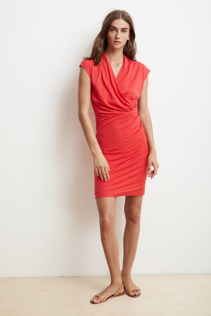 OMEGA GAUZY WHISPER FITTED WRAP DRESS IN FLAME
