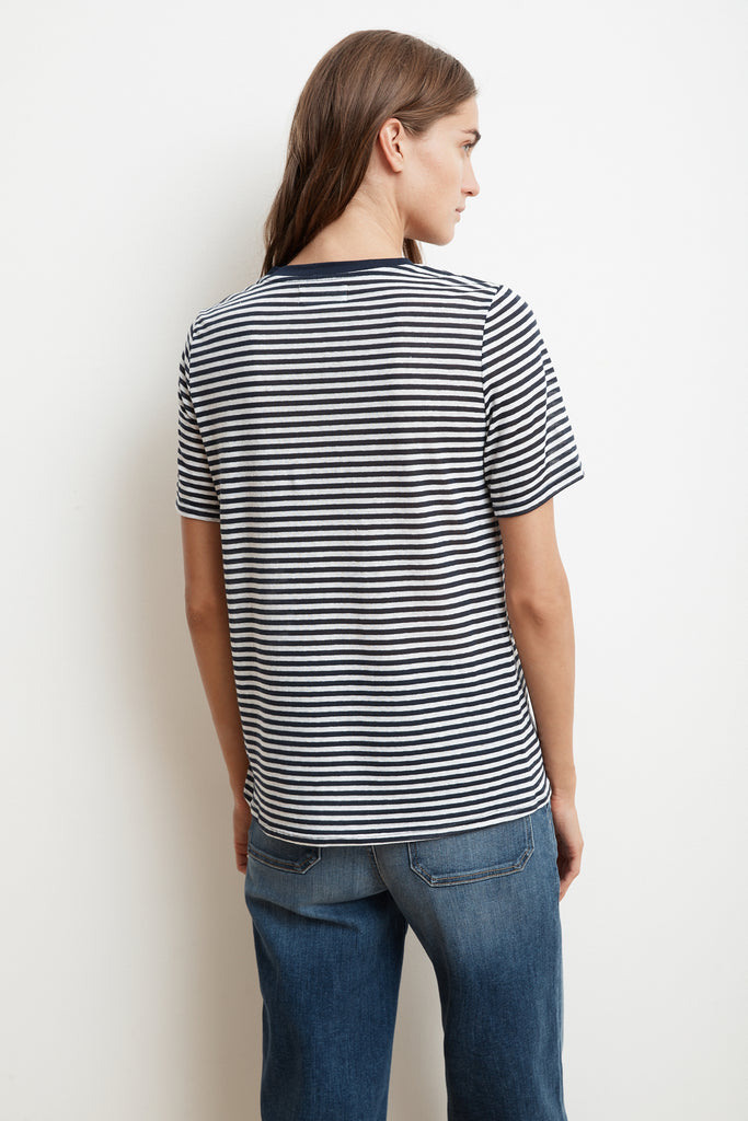 ZUNI HEART COTTON KNIT STRIPE CREW NECK TEE IN NAVY