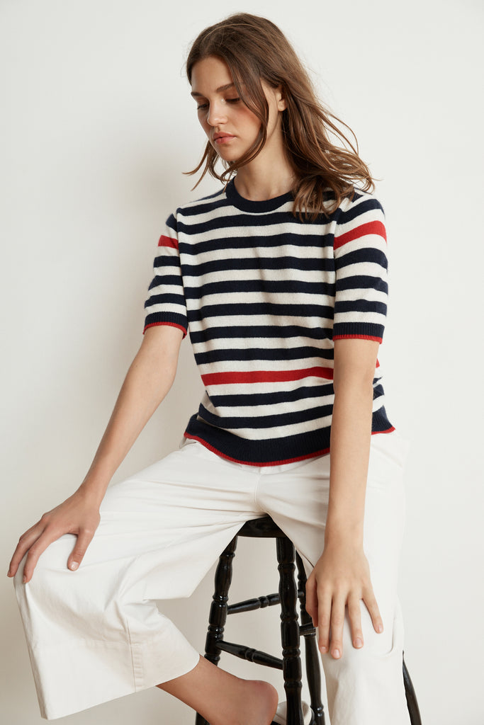 BRENNA STRIPE CASHMERE BLEND SHORT SLEEVE SWEATER IN NAVY