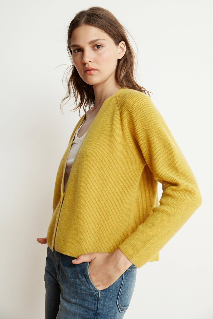HALLE CASHMERE BLEND CROPPED CARDIGAN  IN MUSTARD