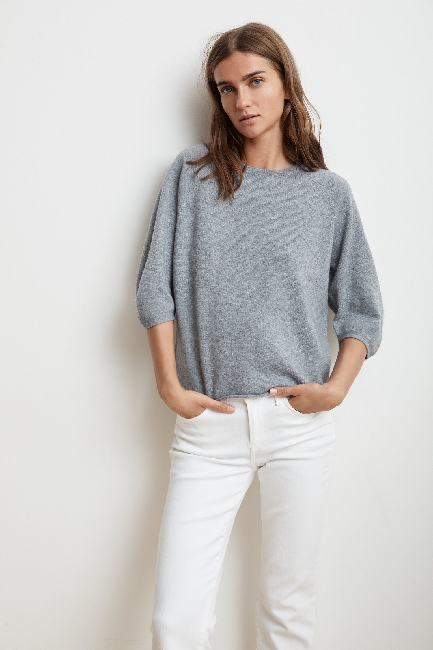 TARA 3/4 SLEEVE CASHMERE BLEND SWEATER IN GREY