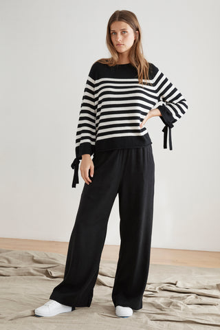 CACEY STRIPE CASHMERE TIE SLEEVE SWEATER IN BLACK