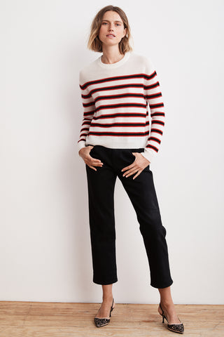 CARMEL STRIPE CREW NECK CASHMERE SWEATER IN MULTI