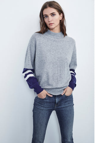 LILIAN MOCK NECK CASHMERE SWEATER HEATHER GREY