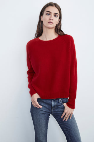 MARIAN CASHMERE RAGLAN SWEATER IN RED