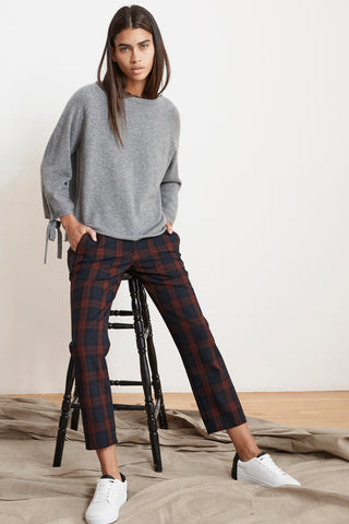 BRENLEY STRETCH PLAID PANTS IN RED