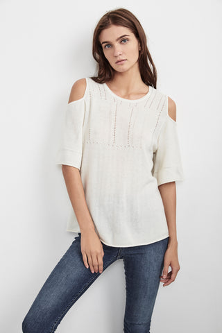 ISLEY CASHMERE BLEND COLD SHOULDER SWEATER IN MILK